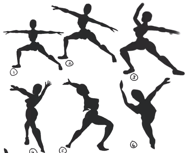 Character posing with silhouettes